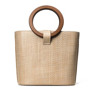 Women's Classic Clean and Simple Design High Quality Woven Straw Bag Beach Style Casual Handbag With Wooden Handle
