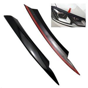 B7 2010년에서 2020년까지 자동차 헤드 라이트 눈꺼풀의 눈썹 ABS 헤드 라이트 램프 스티커 커버 트림 액세서리 - 블랙