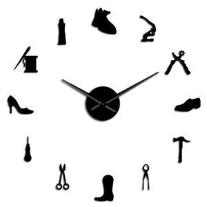 Art Store Recados presente relógio Shoe Decor Diy Shoemaker Grande Cobbler Início Wall Wall Shoe Repair Shoe Assista gigante Archer Frameless iaWiz mx_home