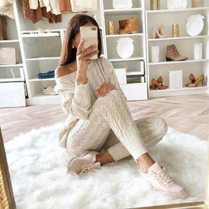 Frauen Pullover Strick 2-teiliges Set Langarm Crop Tops und lange Hosen Sexy 2019 Herbst-Winter-Pullover Zweiteiler Outfits T200821
