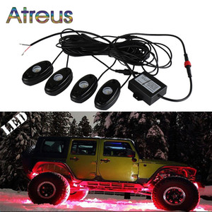 Atreus 1Set 9W Car Led Rock Lights RGB car-styling For ATV SUV Truck Tractor Boat 4WD Motorcycle LED Atmosphere Lamp APP Control