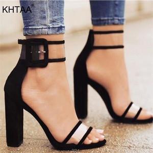 KHTAA verano de las mujeres de alta sandalias transparente con cierre de tiras bombea los zapatos de la boda del partido atractivo de la cubierta del talón de moda bailando Y200620
