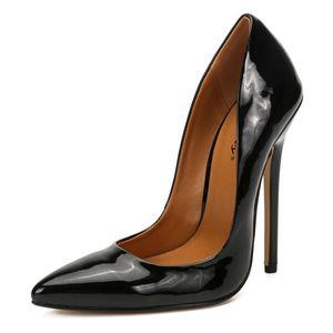 Moda Tacchi alti Scarpe Sexy donna di grandi dimensioni 43 44 45 pompe bianche tacco a spillo in pelle verniciata Ufficio di nozze scarpe Hey Si Mey 200921