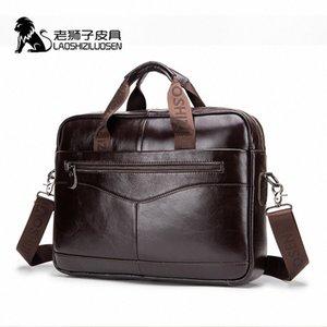 LAOSHIZI LUOSEN Mens Genuine Leather Bag Briefcase Messenger Bag Men Leather Work Bolso Hombre 91504 QFdo#