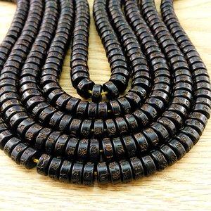 kDblh de cáscara de coco tallado de seis caracteres de partición verdad hecha a mano cuentas de bricolaje accesorios Bodhi cuentas junta DIY brazalete pulsera