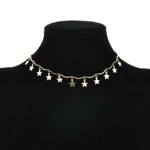 2020 новое ожерелье Мода Simple Punk Star ключицы цепи Choker Wave Short Пункт Воротник Женщины Золото серебряное ожерелье ювелирных изделий