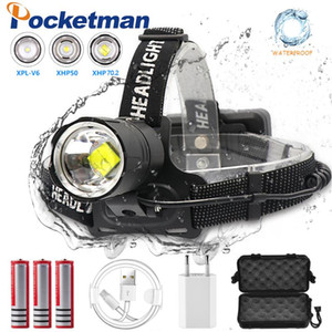8000LM Brightest Headlight XHP70.2 LED Headlamp Zoom Hight Power Head Lamp USB Rechargeable Head Light Use 18650 Batteries