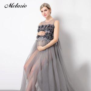 Melario Hamile elbisesi 2020 Hamile Fotoğrafçılık Dikmeler Çiçek Aplikler Elbise Kolsuz Dantel Yaz Hamile
