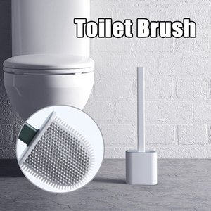 Silicone Toilet Brush with Base Rubber Head Holder Floor-standing Wall-mounted Cleaning Brush Bathroom Accessories Free shipping
