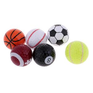 6PCs Neuheit Sport Golfbälle Basketball Fußball Tennis usw. für Indoor Outdoor Training Golfer Gift