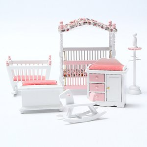 6pcs set Wooden DIY Mini Dollhouse Bedroom Furniture Toys Set 1 12 Simulation Furniture Model Toy for Doll House Decoration Pink Y200317