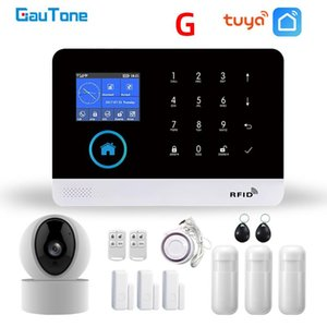 WiFi IP kamera Duman Dedektörü Kol Disarm'da ile GauTone PG103 Tuya GSM Alarm Sistemi Kablosuz Ev Güvenlik