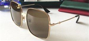 Novo designer de moda óculos moldura quadrada revestido lentes reflexivas uv400 qualidade protecção ultra-leve óculos topo 0414