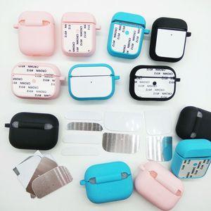Casos de silicone com alumínio em branco de sublimação Insert para Airpods Pro carregamento Case for Personalizando LOGO e padrão Covers DIY de protecção