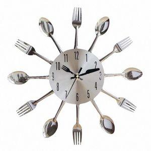 Paslanmaz Çelik Bıçak Çatal Kaşık Kitchen Restaurant Duvar Saati Ev Dekorasyon Duvar Saatleri Çok Fonksiyonlu Araçları tK6j #