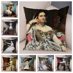 Europe Vintage Woman Lady Girl Pillow Cover Soft Short Plush Cushion Covers Pillow Case Home Decor Print Pillows Cases for Sofa
