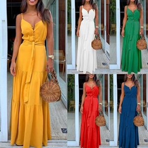 Fashion Sexy Women Sleeveless Backelss Summer Dress 2020 Yellow White Casual Dress Spaghetti Strap Dresses Button Long