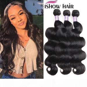 "Ishow Brazilian Body Wave Human Hair Bundles Deals 8-38"" Unprocessed Straight Human Hair Extension Deep Wave Water Wave Virgin Hair Bun"