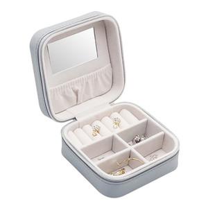 Bijoux Portable Boîte à bijoux Porte-bijoux en cuir Voyage cas de stockage Collier Boucles d'oreilles Rouge à lèvres Maquillage Boîte Miroir cadeau T200917