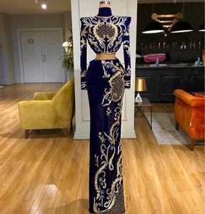 Abendkleider Velvet вечерних платьев высокой шея вышивка шарики с длинным рукавом Royal Blue платье Две пьес выполненным на заказ Red Carpet платье