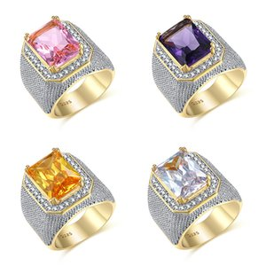 Fashion Big Male Purple Yellow Geometric Ring Crystal White Zircon Stone Engagement Ring 18KT Gold Large Wedding Rings For Men