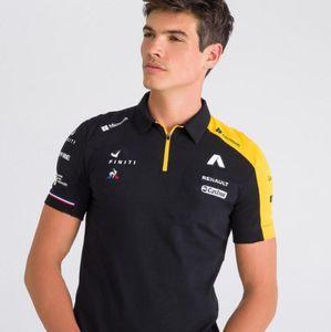 ملابس فريق رينو F1 يتسابق بأكمام قصيرة التجفيف السريع قميص بولو طية صدر السترة نادي السيارات سيارة مروحة وزرة مخصصة تناسب الرجال تي شيرت ل