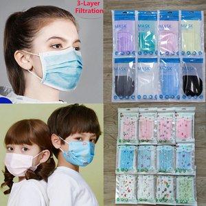 colorido menor máscara de envases desechables Máscara facial mascarillas diseñador no tejida máscara anti-polvo 3 filtro de carbón activado protectora