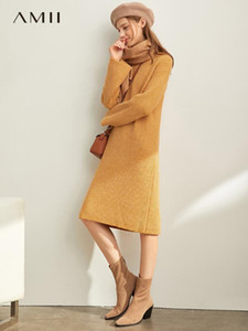 Amii Winter Damen gestrickten Pullover Kleid weibliche elegante lose Fest-Rundhalsausschnitt Langarm Kleider 11970380