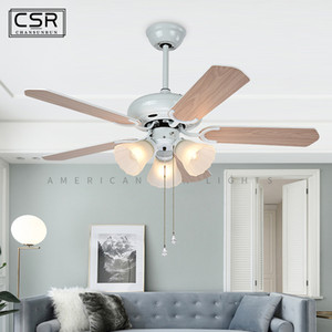 Retro Ceiling Fan Lamp Simple Home Fans Lamp Retro European Wooden Leaf Full Copper Ceiling Fans with Lights Tricolor Lights Fan