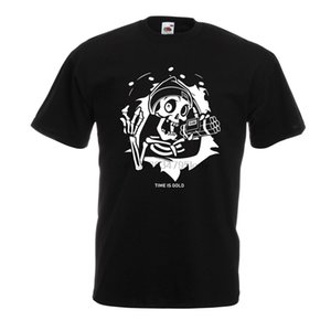 lepni.me camisetas para homens The Skull - Ticking Bomb - o tempo é ouro Quotes