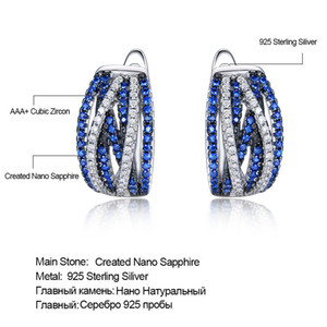 UMCHO Sterling Silver 925 Jewelry Sapphire Clip Earrings for Women Party Wedding Gift 925 Sterling Silver Earrings Fine Jewelry 200921