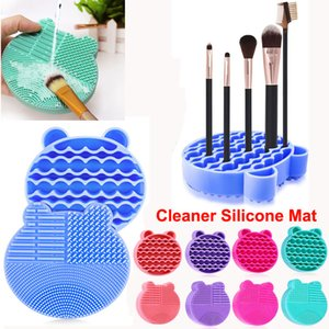 Silicone escova da composição Mat limpeza com escovas Secagem suporte de escova Cleaner Urso Mat Shaped Ferramentas Limpas Cosmetic Brushes Cleaner Pad seco