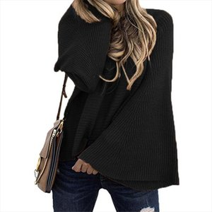 Women Solid O Neck Flare Sleeve Knitted Sweater 2019 Autumn Winter Fashion Female Pullover Sweaters Ladies Loose Casual Knitwear
