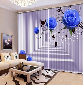 fashion decor home decoration for bedroom blue rose flower custom curtain