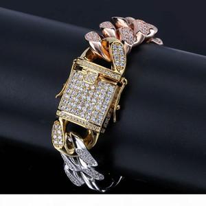 Full of Zircon jewelry buckled CUBAN CHAIN BRACELET 14mm Man Plating Three Color Gold Bracelet