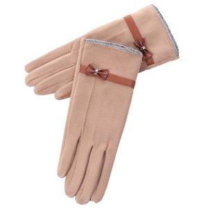 Mode dentelle Bow femmes Gants d'hiver Femme Mesdames écran tactile Eldiven haute qualité Gants coupe-vent femmes Guantes