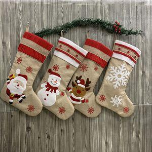 11 * 18.9inch Gift Bag Biancheria Christmas Stocking Decorazioni di natale calza natale Grande ricamato Cartoon Patchwork calzini decorativi