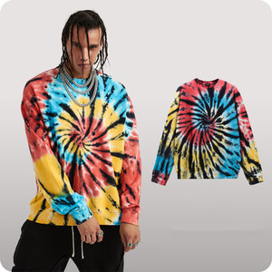 2020 New Men Long-Sleeved Shirts 13 Mens Designer Tie-dyed Clothes High Quality Cotton Tees Size M-XL