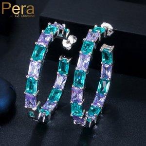 Pera Princess Cut Mix Lumière Bule Color Purple CZ cristal Pavée Mystic Circle Round Big Square Femmes Boucles d'oreilles Bijoux E456