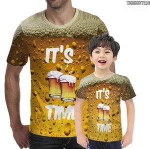 Casual Men Tops Tees Streetwear Summer Men 3D T-shirt Beer Time Short Sleeve O-Neck Fashion Funny 3D Printed T Shirt