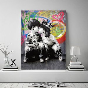 Аннотация Холст Картина маслом Бэнкси граффити стены искусства африканских женщин Холст печати плакатов на стене Картины для гостиной Decor Room