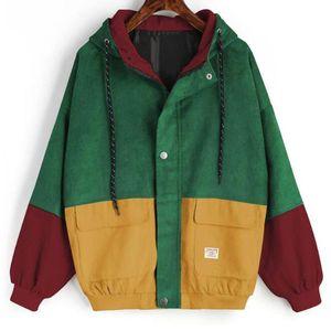 Autumn Windbreaker Coats and Jackets Women Outerwear And Coats Jackets Long Sleeve Corduroy Patchwork Oversize Zipper Jacket
