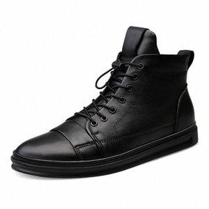 Youki homme Bottes d'hiver en peluche laine fourrure Homme botte en cuir véritable Chaussures Hommes Big Taille egG7 #