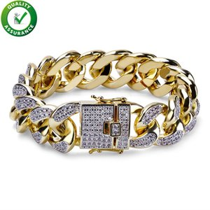 Hip Hop Jewelry Men Bracelets Luxury Designer Love Bangle Miami Cuban Cuban Chain Bracelet 18mm Chunky Iced Out Bling Gold Silver CZ Fashion