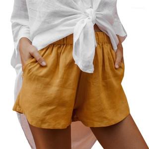 Losse высокой талией шорты Мода Natural Color Wide Leg Шорты Одежда для женщин лето женщин шорты Casual