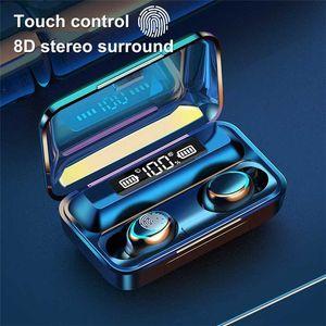 Lovebay Kablosuz F9-5 Bluetooth 5.0 LED Ekran 8D Bas Stereo kulak Eller serbest Hifi Kulaklık Kulaklık