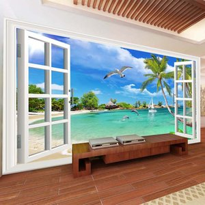 2020 custom photo wallpaper 3D seaside scenery window mural wall covering living room living room sofa home decoration wall covering