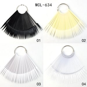 4 Color 40pcs Nail Art Tips Sticks Fan-shaped Nail Polish Display Board with Metal Silver Ring Art Gel Polish Practice Tool