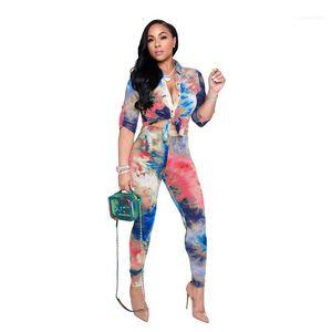 Ternos Tie Dye Cardigan lapela pescoço Suits Casual Vestuário Womens 2 Piece Set Dropshipping das senhoras do desenhador Calças OL Estilo