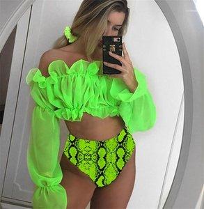 Swimsuits Ruffle Long Sleeve Snake Pattern Bikinis 2pcs Fashion Women Summer Beachwear Sexy Slash Neck Chiffon